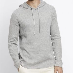 Vince Raw Edge Hoodie Heather Steel Gray